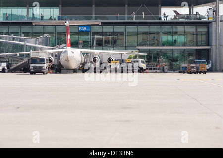 An Avro 'Jumbolino' aircraft of Swiss International Airlines is parked at the terminal building of Zurich international - Stock Photo