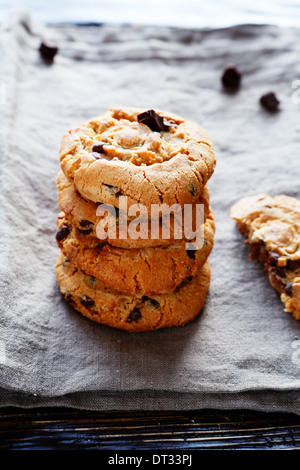 cookies with chocolate on rustic table, food - Stock Photo