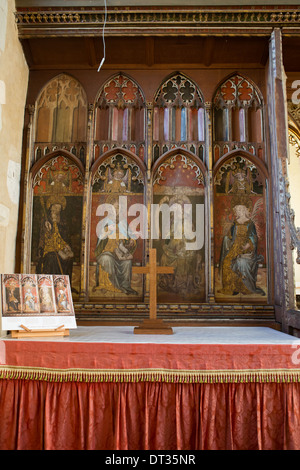 St John the Baptist Chapel. Medieval rood screen inside Ranworth Church, Norfolk Broads, UK - Stock Photo
