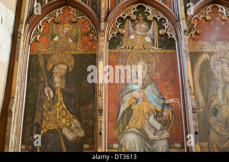 St Etheldreda and St Agnes. Medieval rood screen inside Ranworth Church, Norfolk Broads, UK - Stock Photo