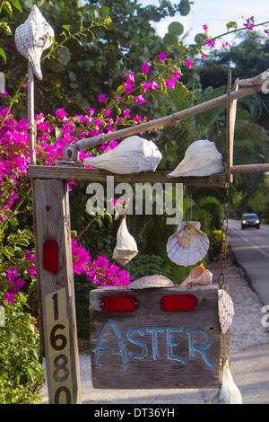 Florida Sanibel Captiva Island Captiva Drive address sign shells flowers - Stock Photo