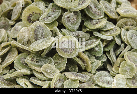 Dried slice pieces of kiwi isolated - Stock Photo