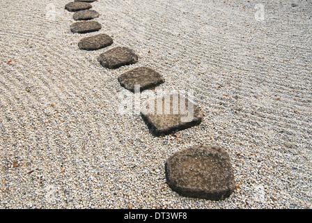 stone way in japanese stone garde - Stock Photo