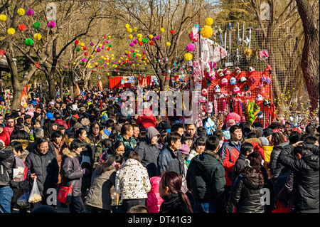 Chinese people crowd to Temple Fair during Chinese New Year - Stock Photo