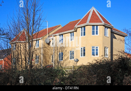 A view of a modern housing block at the west of Norwich, Norfolk, England, United Kingdom. - Stock Photo