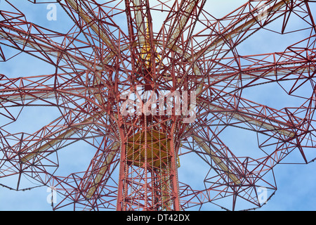 Detail of the top of the Parachute Jump in Coney Island known as the Eiffel Tower of Brooklyn - Stock Photo