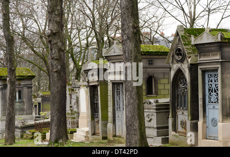 View of the Pere Lachaise, the largest Cemetery in Paris, France. - Stock Photo