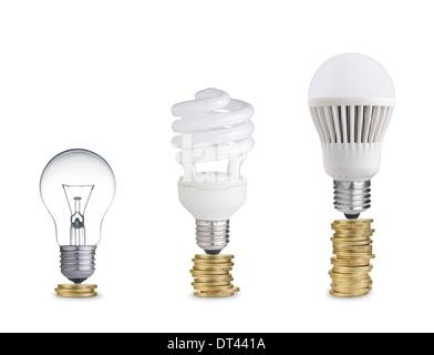 Isolated On White; Money Saved In Different Kinds Of Light Bulbs. Isolated  On White   Stock Photo