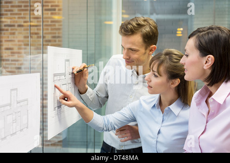 Business man woman plans meeting colleagues - Stock Photo