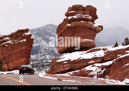 Steamboat Rock and Balanced Rock in Garden of the Gods Park, Colorado Springs, Colorado, USA, on a winter day - Stock Photo