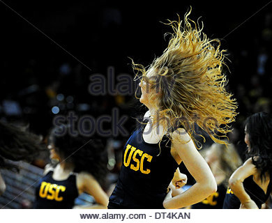 Los Angeles, California, USA. 07th Feb, 2014. Southern California cheerleaders perform in the second half of a PAC - Stock Photo