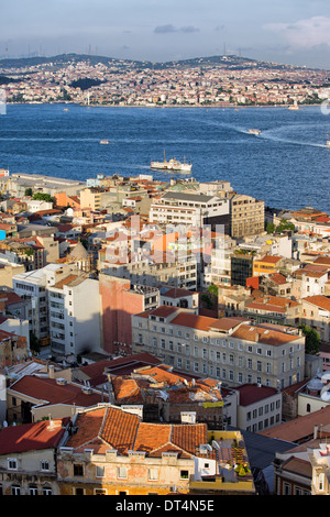 Istanbul cityscape from above in Turkey, Bosphorus Strait between Beyoglu (on the first plant) and Uskudar (far - Stock Photo