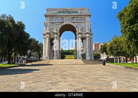 Piazza della Vittoria - Victory square in Genoa with the arc of triumph, Liguria , Italy - Stock Photo