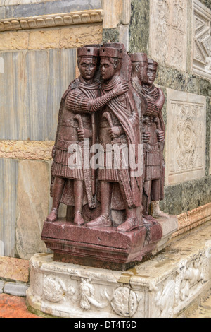 Venice, Italy. The Portrait of the Four Tetrarchs, a porphyry sculpture group at the St Mark´s Basilica. - Stock Photo