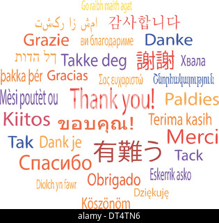 Thank You in many languages, vector illustration - Stock Photo