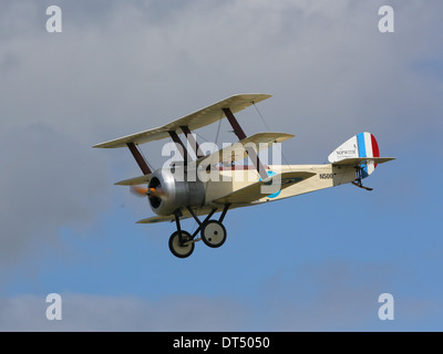 Sopwith Triplane First world War fighter aircraft replica flying at Dunsfold 'Wings and Wheels' Airshow - Stock Photo
