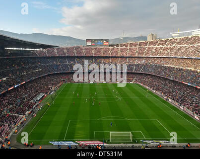 Barcelona, Spain. 1st Feb, 2014. The Camp Nou Stadium in Barcelona, Spain, 1 February 2014. Barcelona lost the match - Stock Photo