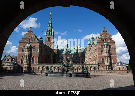 Neptune Fountain and Royal wing of Frederiksborg Palace, built as a royal residence for King Christian 4th - Stock Photo