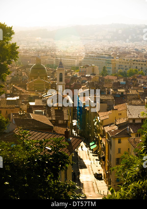 View of The Old Town Of Nice, Alpes Maritimes, France with the Cathedral Sainte Reparate in the background - Stock Photo