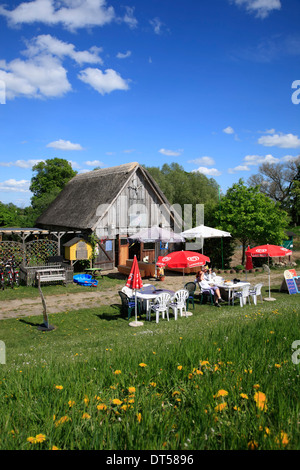 Elbe river cycle route, Cafe at Elbe dike in Kietz near Lenzen, Brandenburg, Germany, Europe - Stock Photo