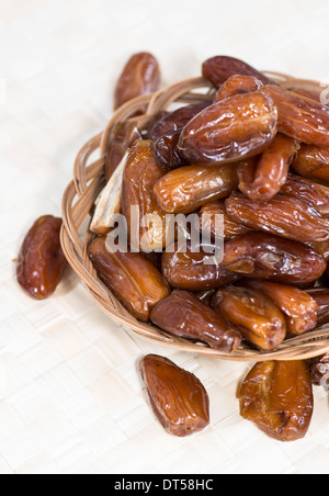 Heap of fresh dried dates (close-up shot) - Stock Photo