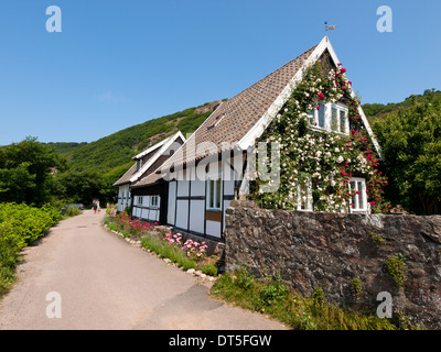 A view of a quaint little private house in Mölle, Sweden. - Stock Photo