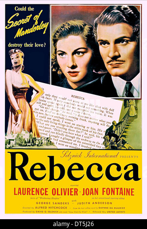 JOAN FONTAINE, LAURENCE OLIVIER POSTER, REBECCA, 1940 - Stock Photo