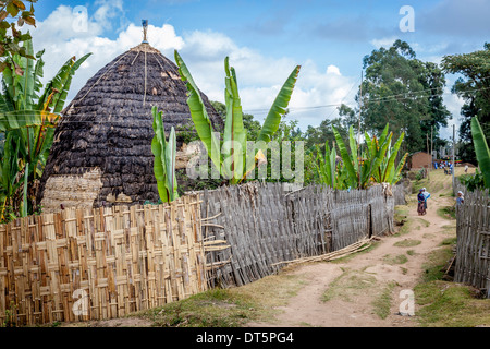 Dorze Village, Hayzo, near Arba Minch, Ethiopia - Stock Photo