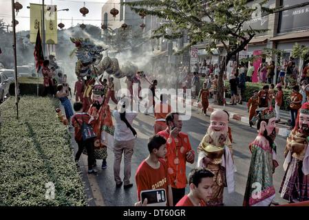 Chinese New Year celebrations and parade. Hua Hin Thailand S. E. Asia 2014 - Stock Photo