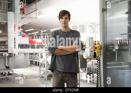 Portrait of man in brewery - Stock Photo