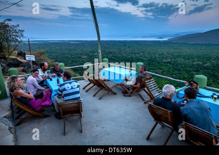 The View Of Lake Abaya Towards Nechisar National Park From The Terrace Of Paradise Lodge, Arba Minch, Ethiopia - Stock Photo