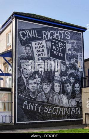 Ireland, Derry, The People's Gallery series of murals in the Bogside, Mural known as Civil Rights. - Stock Photo