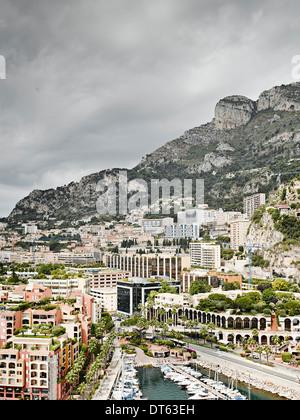 View of city and harbor, Monte Carlo, Monaco - Stock Photo