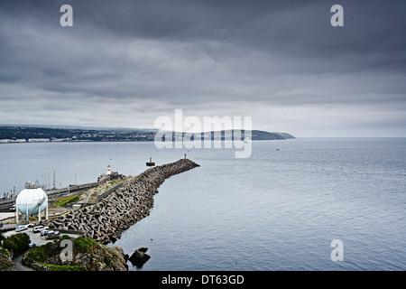 Jetty and coastline, Isle of Man, UK - Stock Photo