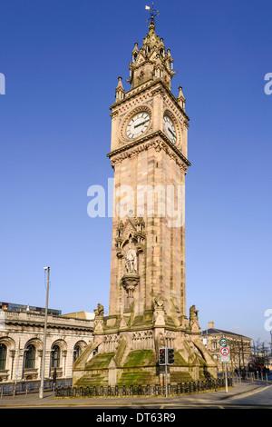 Ireland, Belfast, The Albert Memorial Clock Tower in Queen's Square a memorial to Queen Victoria's consort Prince - Stock Photo