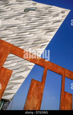 Ireland, Belfast, Titanic Quarter, Titanic Belfast Visitor Experience, Graphic shapes of section of  building and - Stock Photo