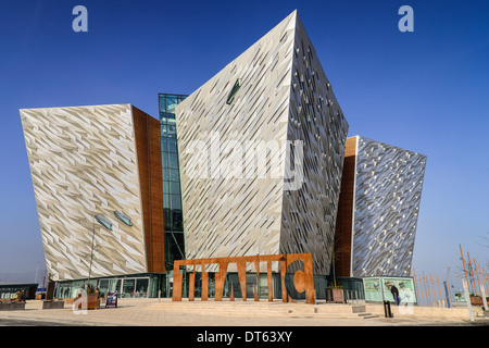 Ireland, Belfast, Titanic Quarter, Titanic Belfast Visitor Experience, General view of building with Titanic sign - Stock Photo