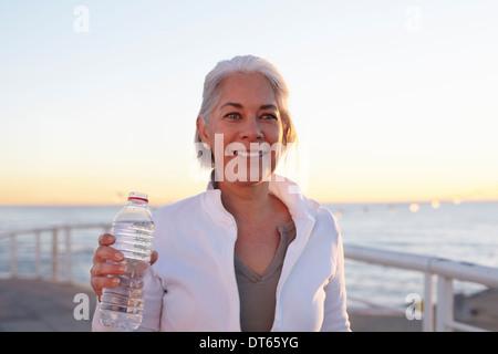Mature woman on walking exercise - Stock Photo