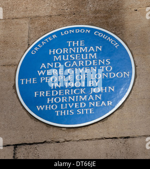Blue plaque at The Horniman Museum, London Road, Forest Hill, London SE23, England. - Stock Photo