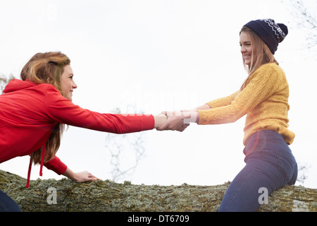 Teenage girls play fighting on tree trunk - Stock Photo