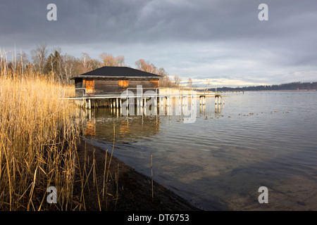 Boat house on the Chiemsee lake, Chiemgau, Upper Bavaria, Germany Europe - Stock Photo
