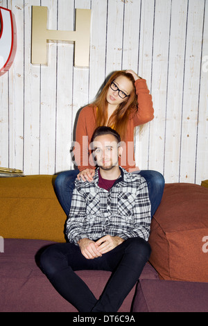 Portrait of young couple hanging out - Stock Photo