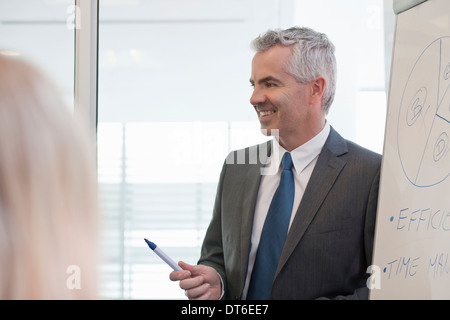 Office manager giving flipchart presentation - Stock Photo