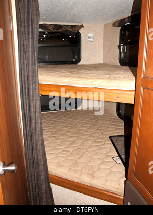 Recreational Vehicle Interior Small Bedroom With Bunk Beds