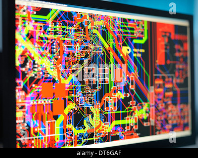 Computer screens with electronic circuitry designs for automotive use - Stock Photo