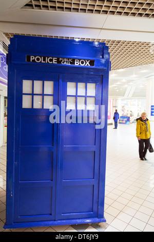 Tardis police box blue Dr Who Doctor Princes Quay Kingston upon Hull, East Riding, Yorkshire, UK, England GB - Stock Photo