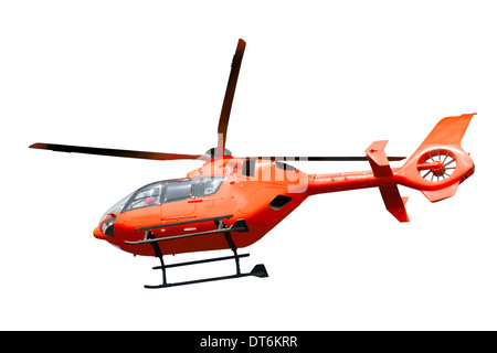 Red helicopter isolated on white background - Stock Photo