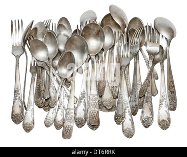 Aged vintage silver cutlery (forks, spoons) isolated on white background - Stock Photo
