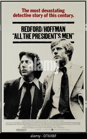 DUSTIN HOFFMAN, ROBERT REDFORD MOVIE POSTER, ALL THE PRESIDENT'S MEN, 1976 - Stock Photo