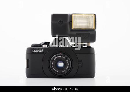 Pentax auto 110 film SLR camera using compact 110 film - Stock Photo